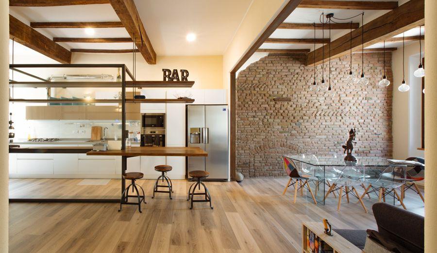 Cucina open space in stile industriale