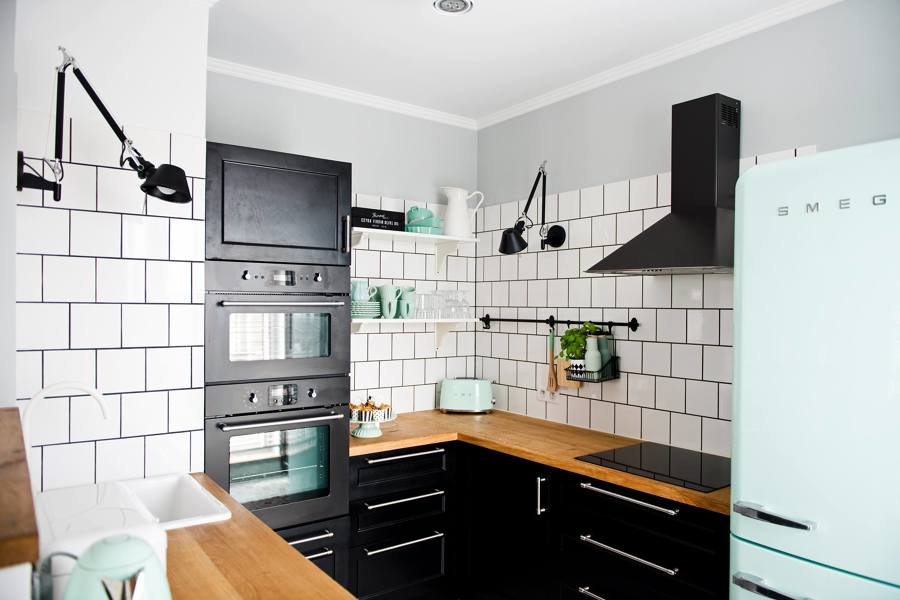 Cucina piccola in stile vintage