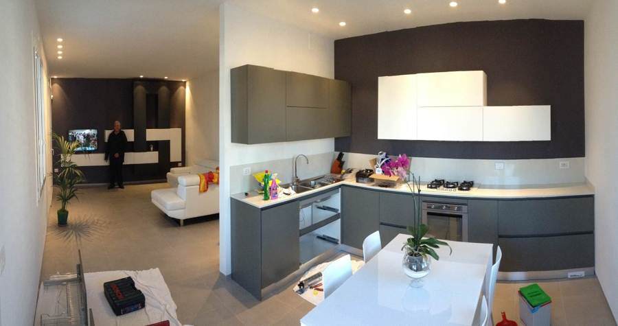 Progetto ristrutturazione appartamento bellaria rn - Open space soggiorno cucina progetti ...