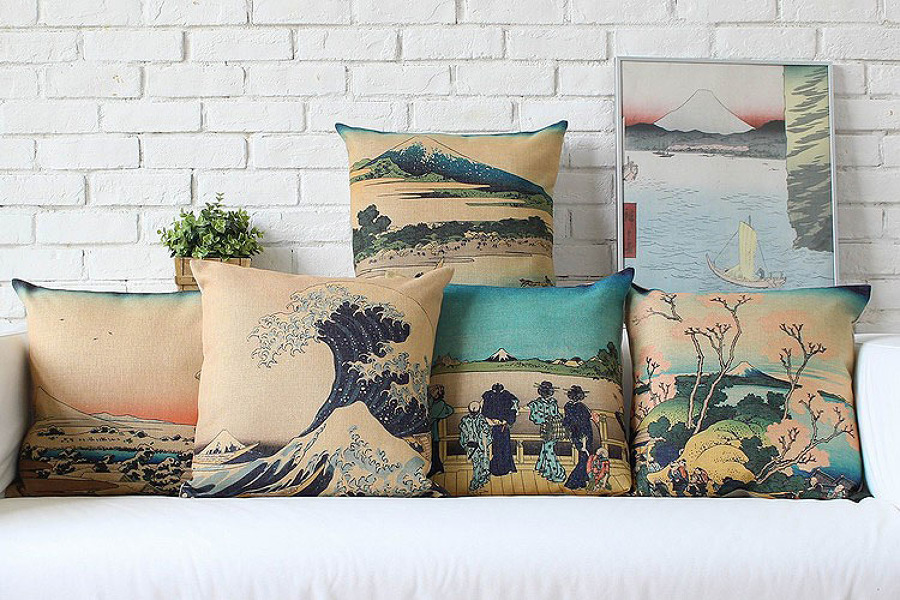 Cuscini con le opere di Hokusai