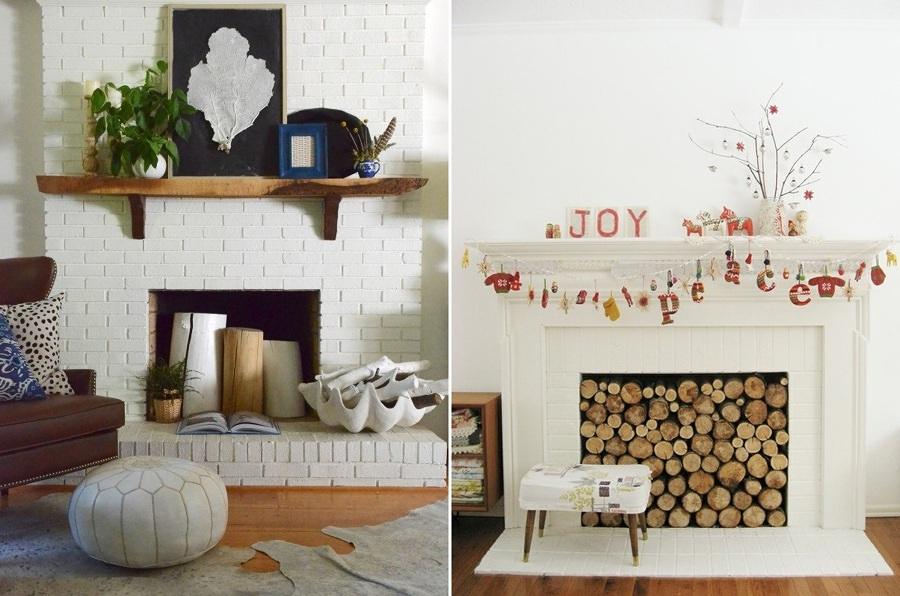 decora il camino con il legno