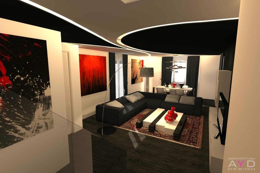 progetto design soggiorno minimal  idee ristrutturazione casa, Disegni interni
