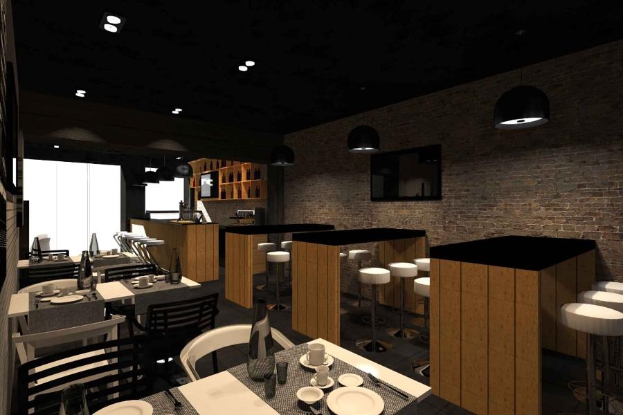 Bar le fabr k progetti ristrutturazione locali commerciali for Bar stile industriale