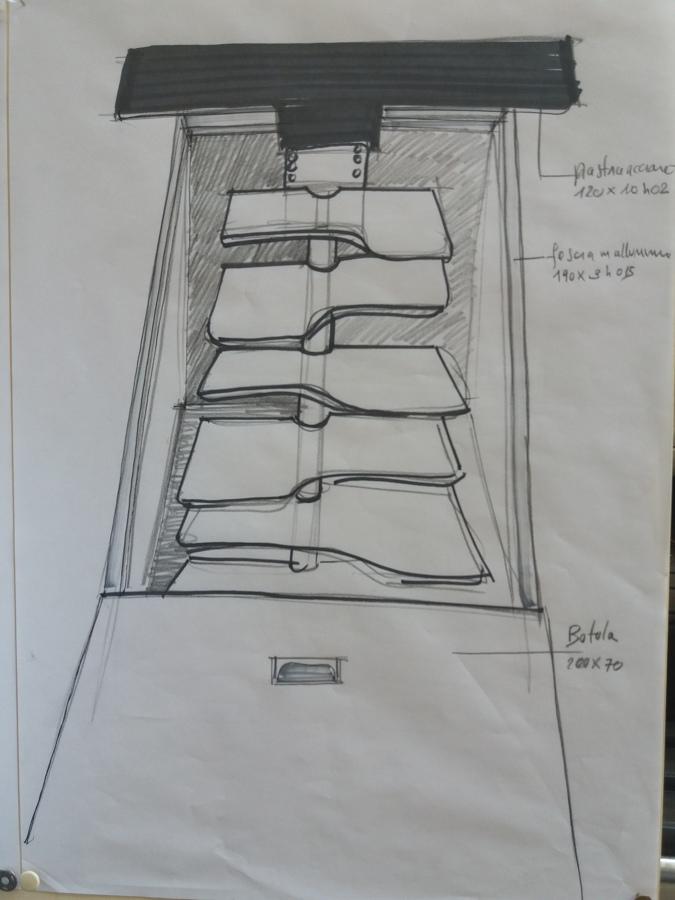 Disegno dettaglio scala e piastra di ancoraggio