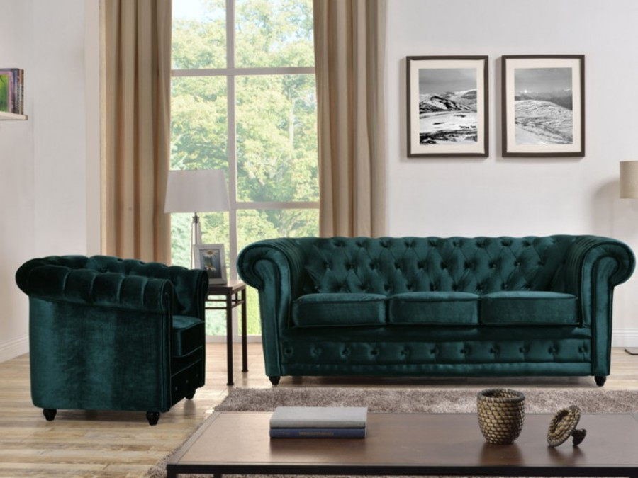 Divani e poltrone di velluto un tocco vintage in salone idee interior designer - Divano verde petrolio ...