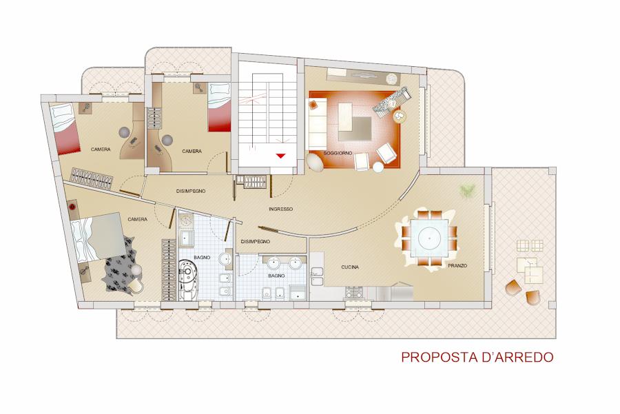 Progetto di divisione interna e proposta d 39 arredo idee for Progetto appartamento moderno
