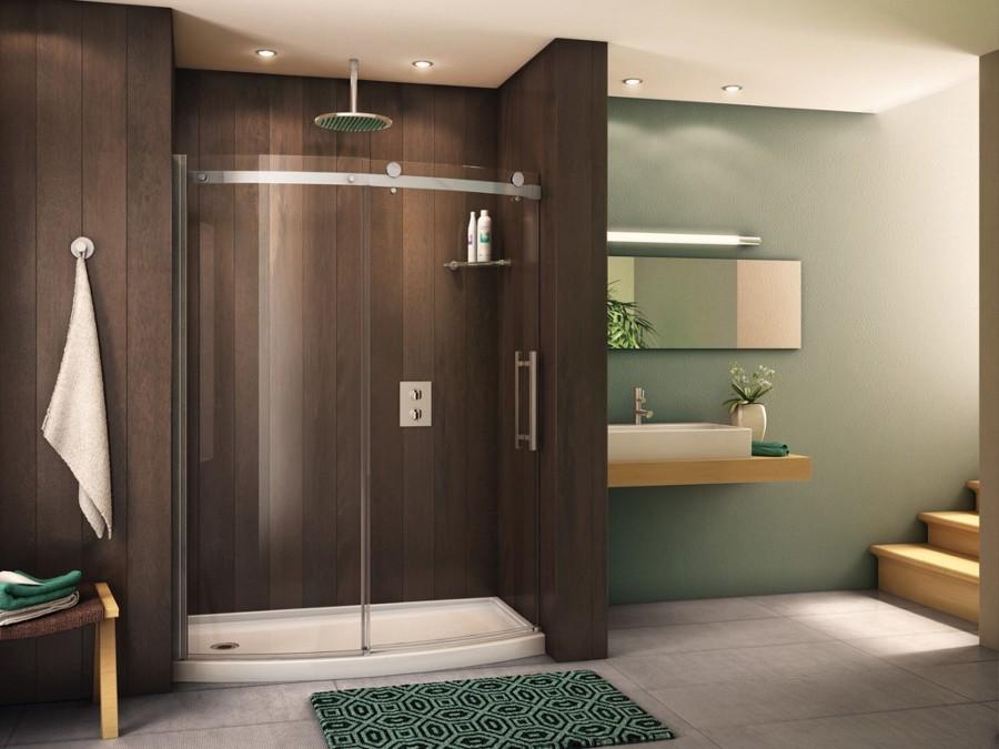 doccia con pareti in legno