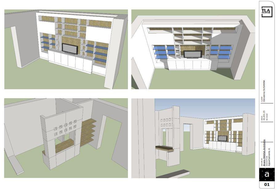 Elaborazioni grafiche ambiente living dell'appartamento A
