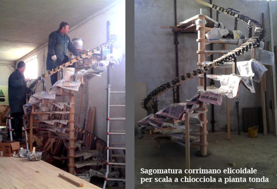 Foto fasi di sagomatura corrimano in legno a pezzo unico for Corrimano in legno roma