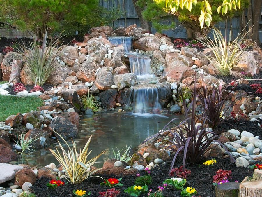 Foto fontana con cascata per il giardino di valeria del for Cascadas artificiales para jardin