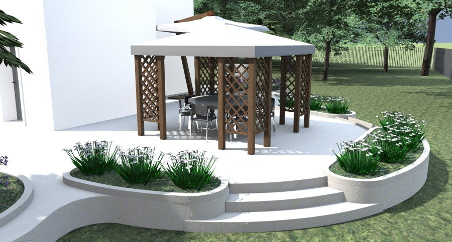 Cool gazebo su terrazzo circolare with giardino su terrazzo - Giardino su terrazzo ...