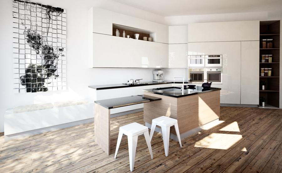 Foto grande open space con cucina angolare di graficae for Cucina open space con pilastri