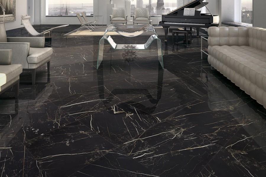 Gres porcellanato effetto marmo melange nero