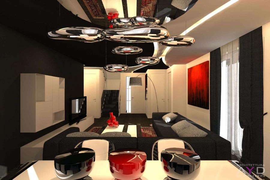 Progetto design soggiorno minimal idee ristrutturazione casa - Idee illuminazione interni ...