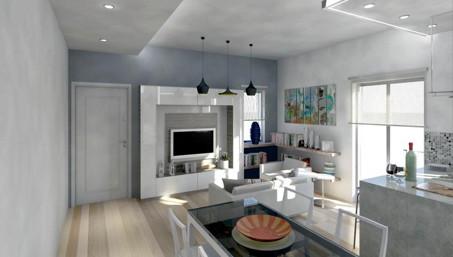 Foto ingresso cucina soggiorno di studio romano for Soggiorno cucina moderno