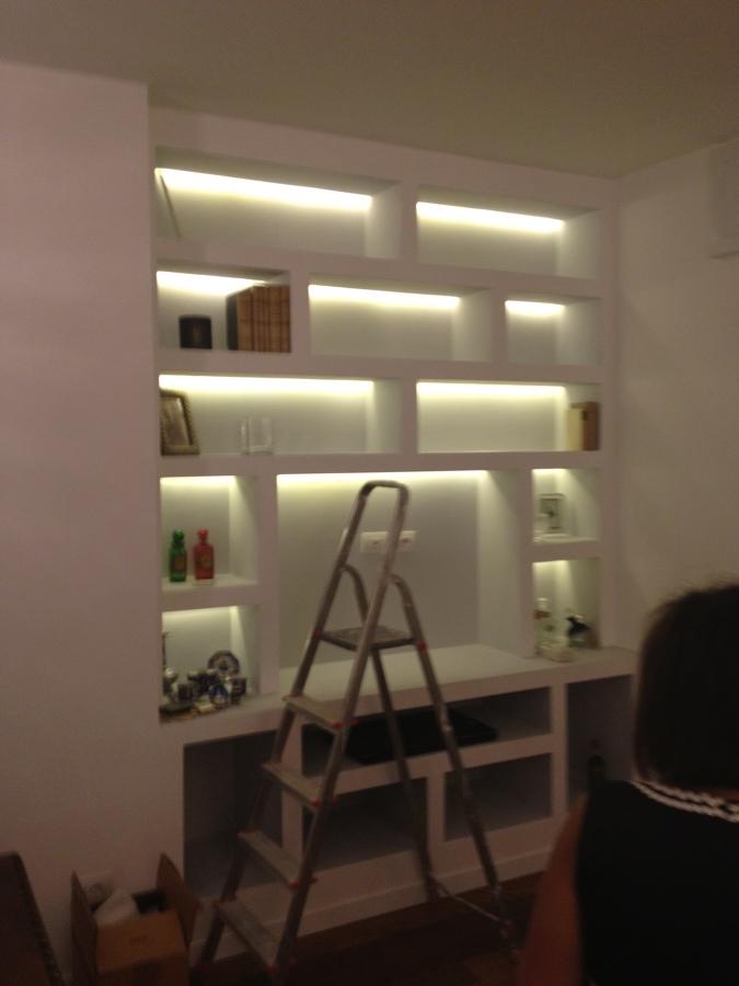 interni, appartamento, libreria retro illuminata