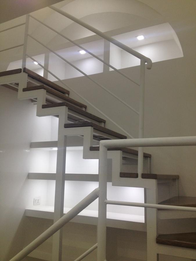 interni, ufficio, scala con libreria