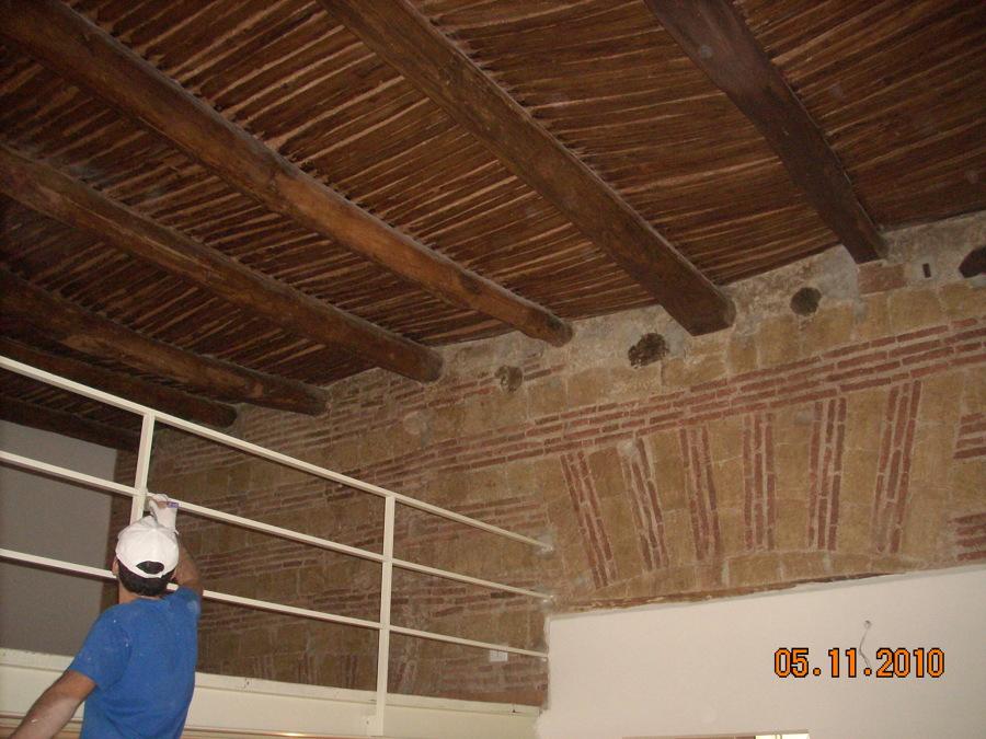 interno, appartamento restauro, consolidamento pareti e solaio in legno