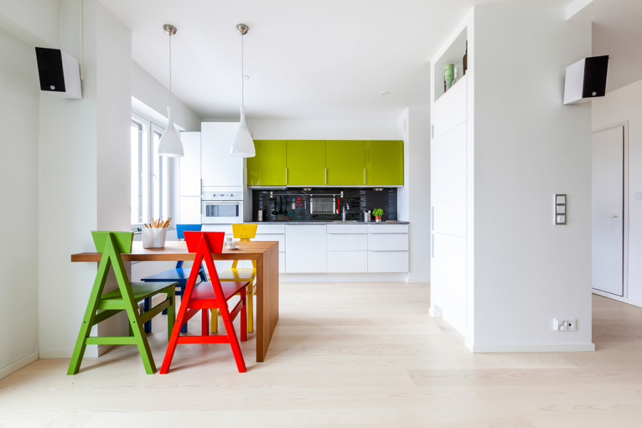 kitchen and colourful chairs