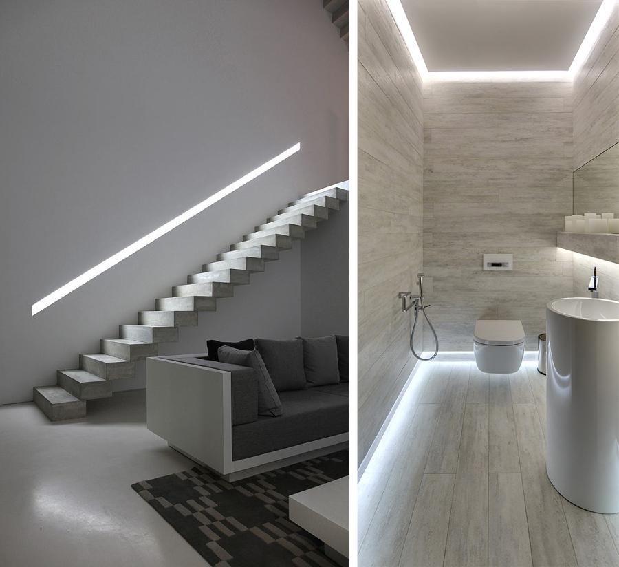 La luce sottolinea gli elementi architettonici