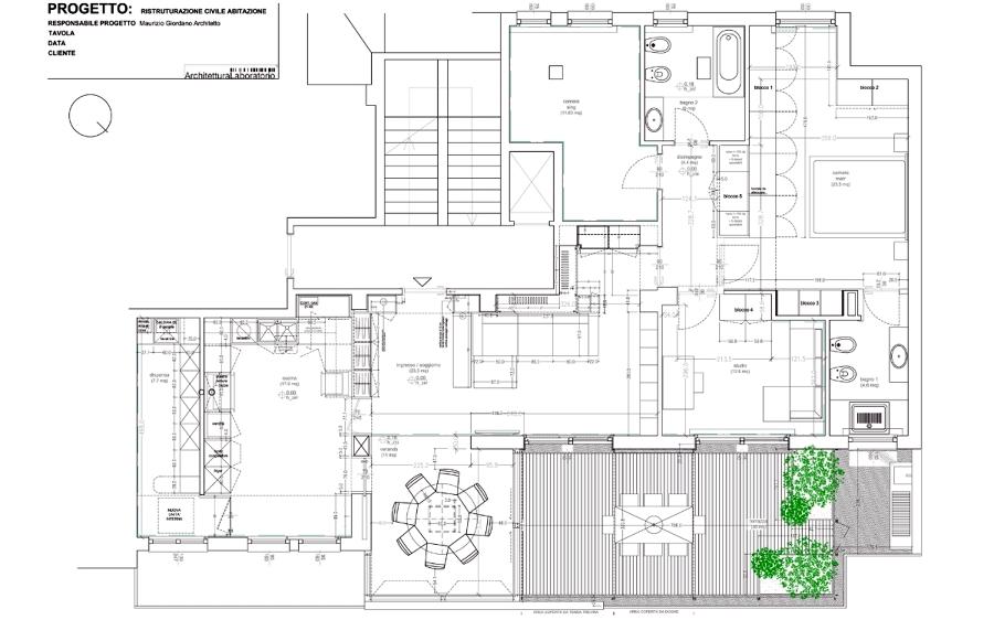 Foto la pianta arredata de architettura laboratorio - Disegno pianta casa ...