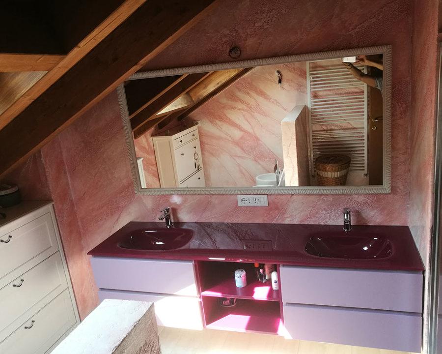 lavabo a due vasche con specchio
