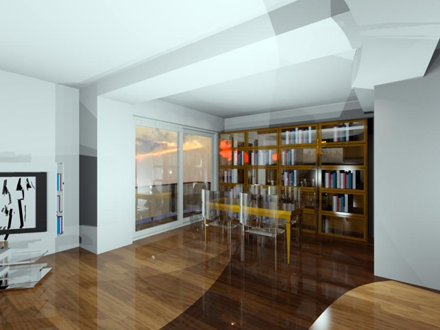 Foto vista render libreria zona salotto di gigli arredi for Libreria salotto