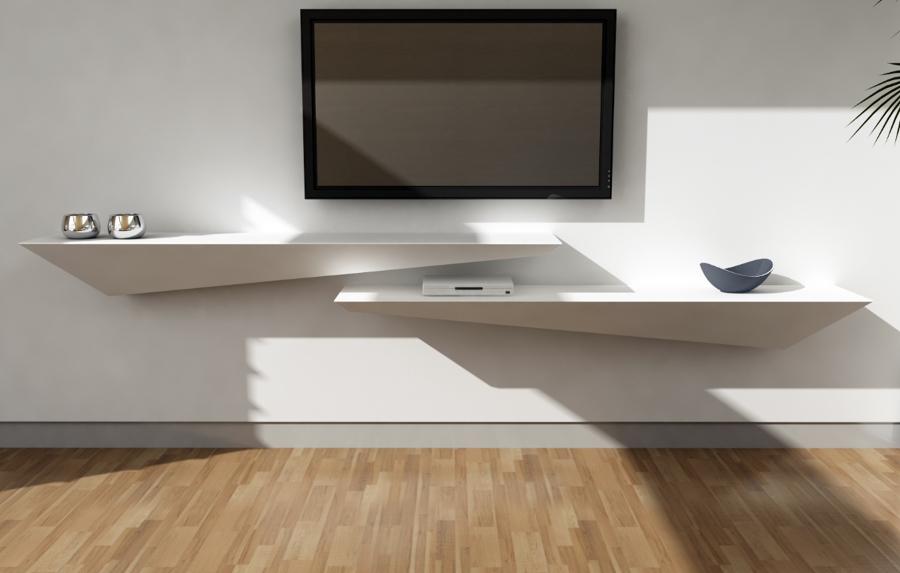 Foto mensola 39 tzeno 39 di dupont corian de arco arredo for Meuble tv avec vitre
