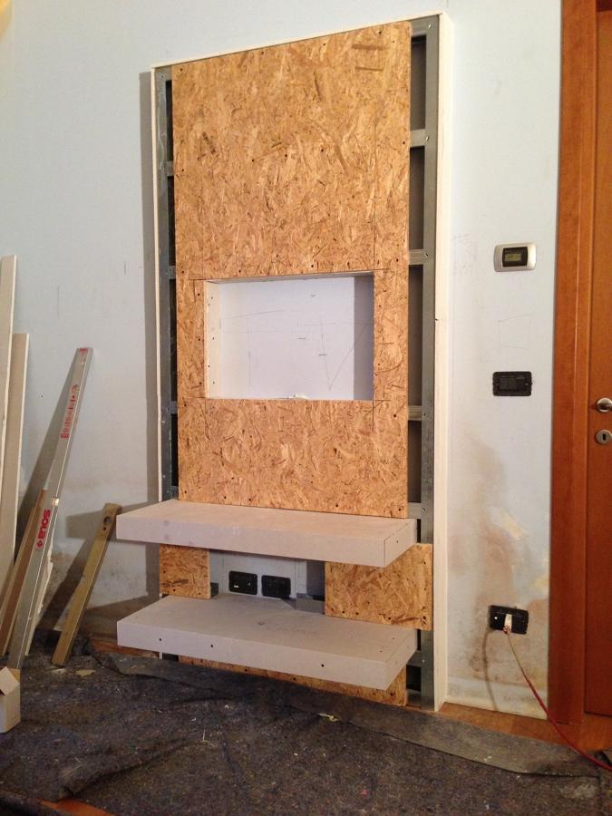 Progetto creazione di mobili in cartongesso idee cartongesso - Parete mobile in cartongesso ...