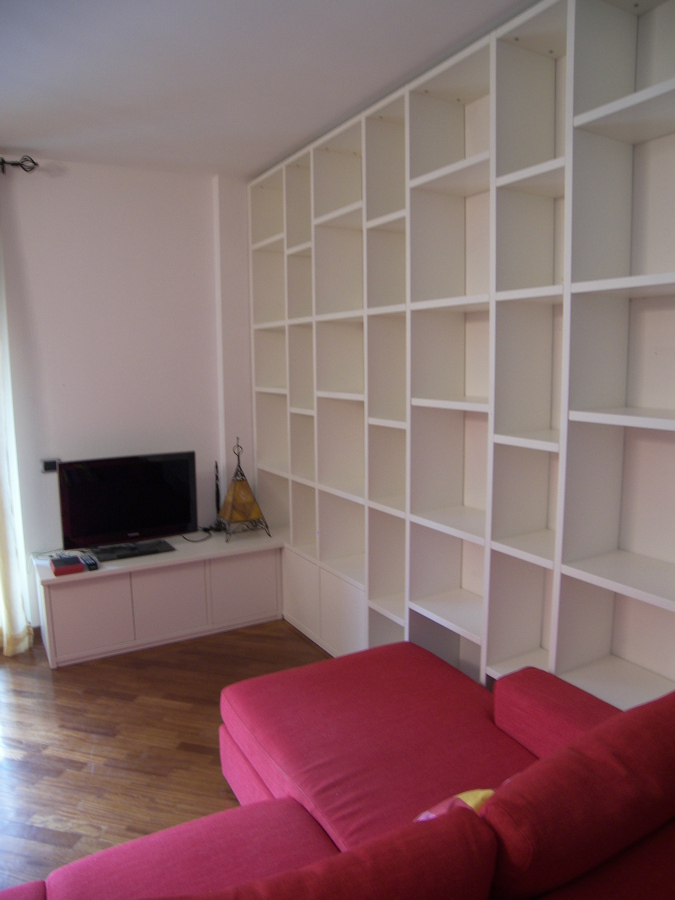 mobile soggiorno bianco laccato : Mobile Soggiorno Libreria Laccato Bianco Idee Armadi