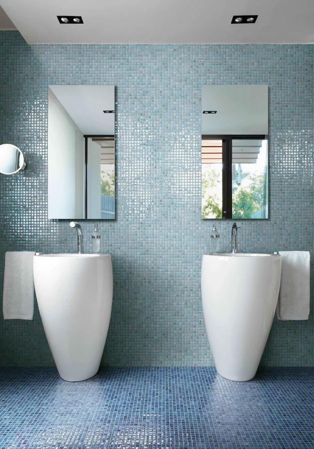 Mosaico nel bagno tutta la guida per arredare un bagno con stile idee ristrutturazione bagni - Verniciare piastrelle pavimento ...
