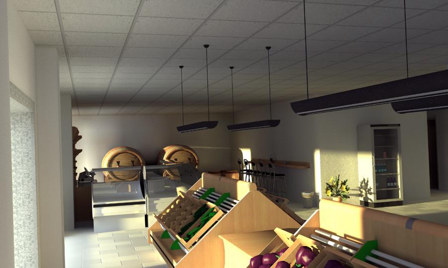 Progettazione e render di locale commerciale idee architetti for Arredamento frutta e verdura