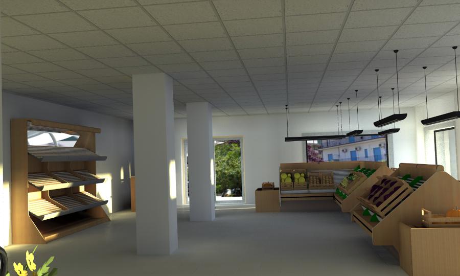 progettazione e render di locale commerciale | idee architetti - Idee Arredamento Negozio Frutta E Verdura