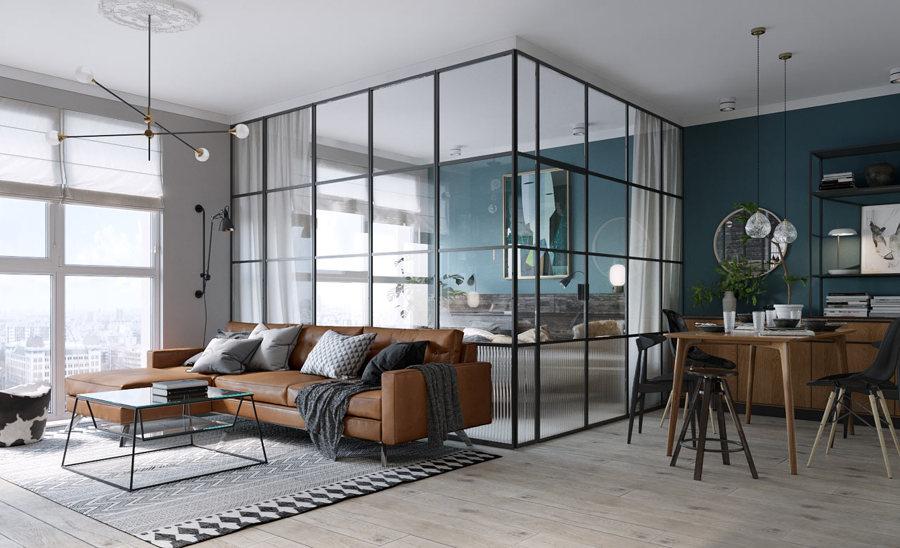 Open space suddiviso con pareti vetrate