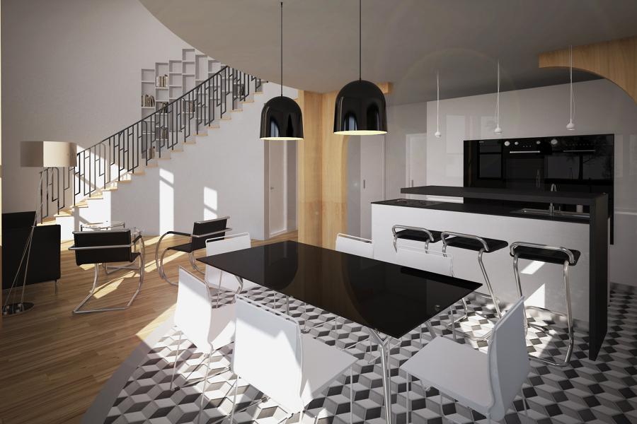 Progetto di una casa in bioedilizia a cassolnovo pv - Open space cucina soggiorno classico ...