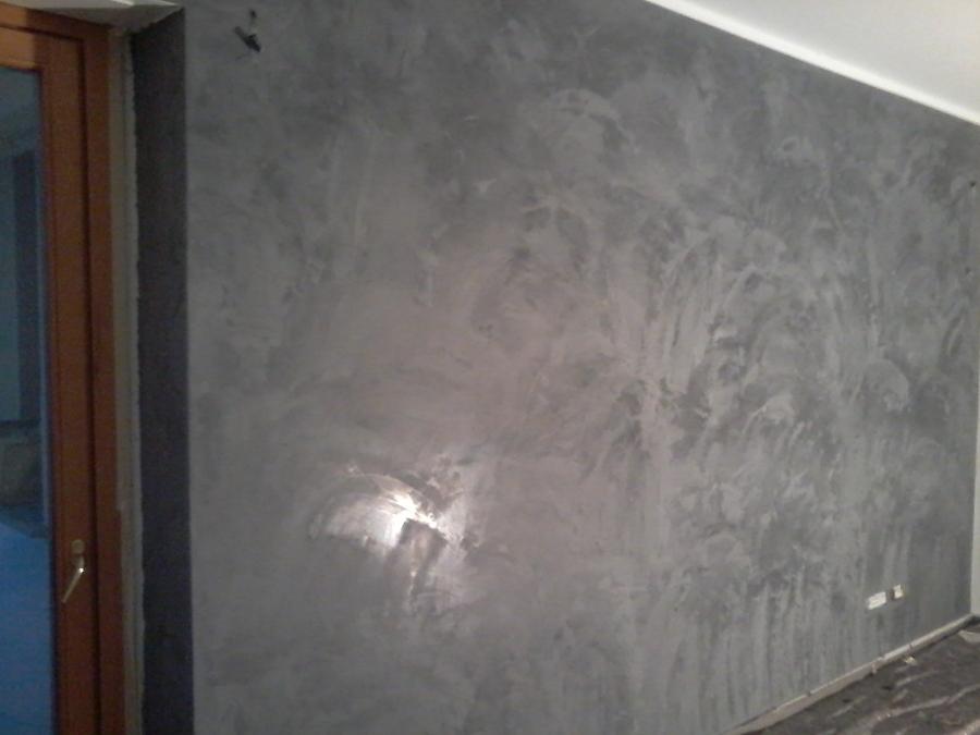 sala pareti stucco veneziano parete grigio antracite lucidato al ...