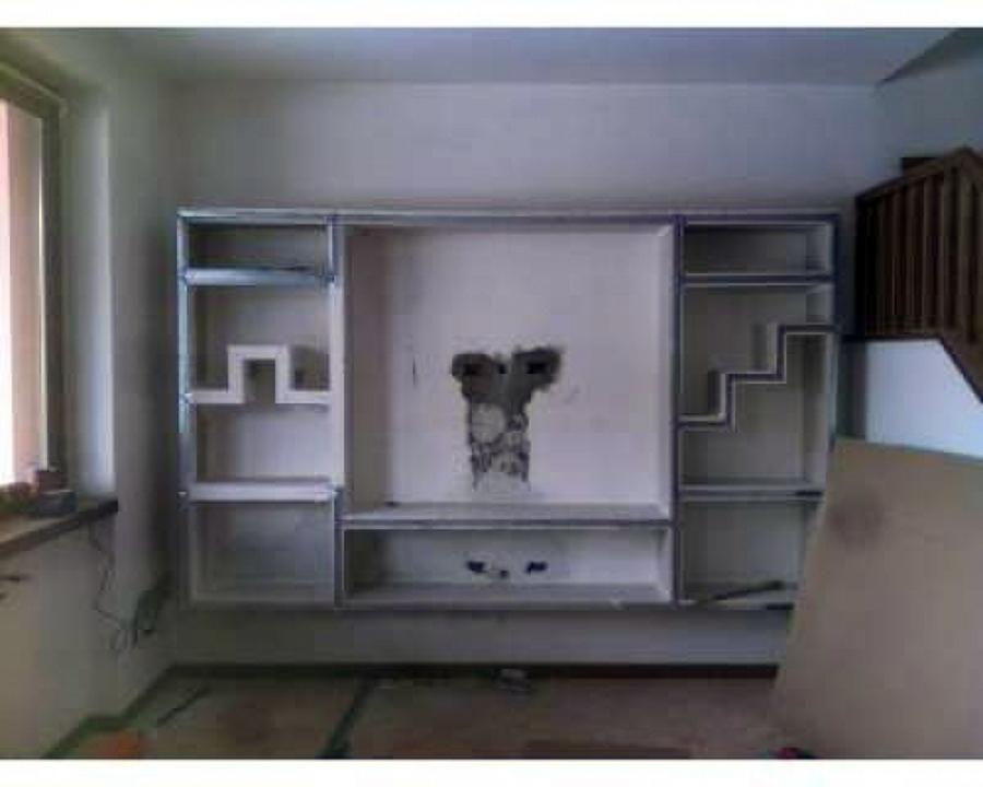 Progetto realizzazione di parete attrezzata idee cartongesso - Parete mobile in cartongesso ...