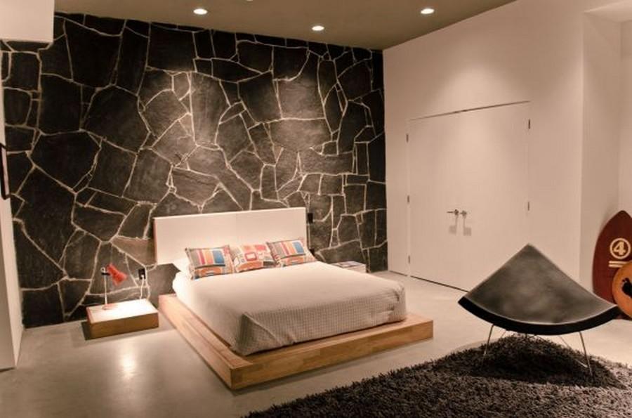 Arreda la tua casa con la pietra idee marmisti - Parete grigia camera da letto ...