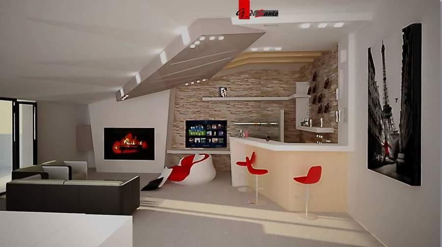 Foto parete tv camino angolo bar controsoffittatura for Bancone con angolo