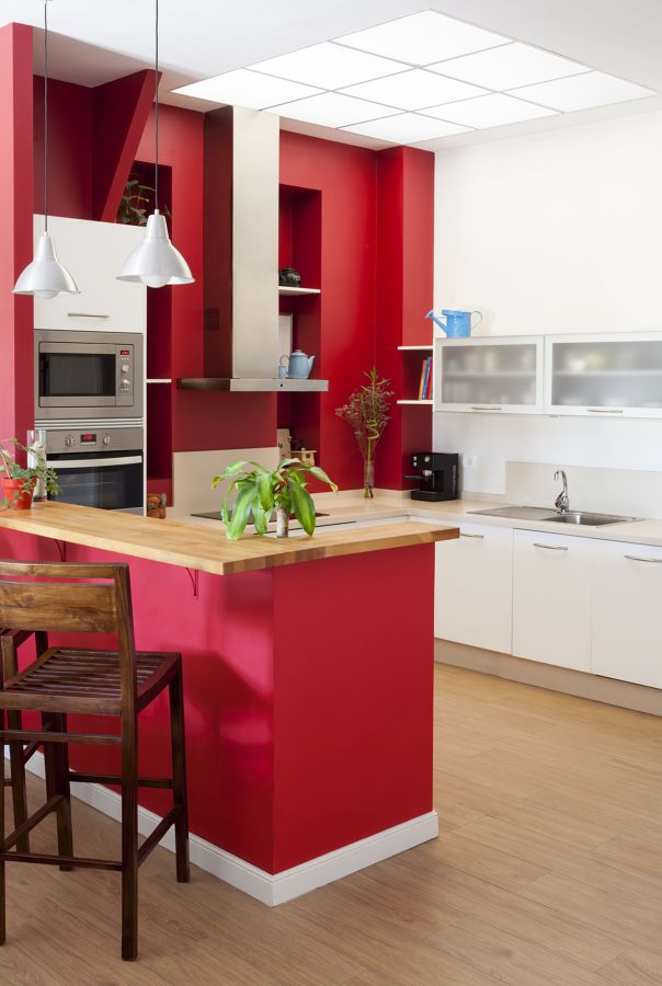 pareti cucina rosse