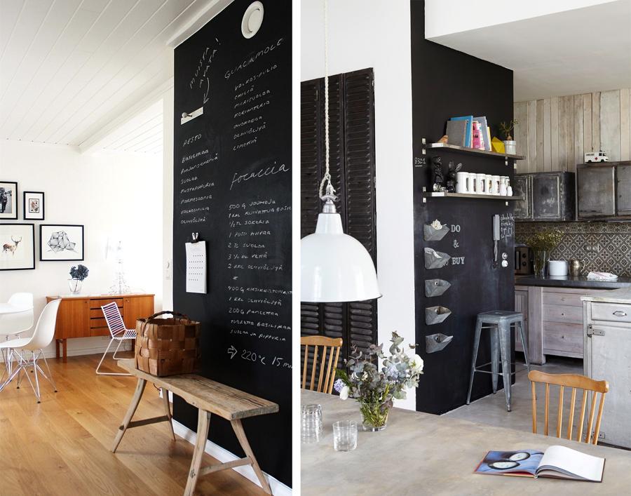 Come usare il colore nero in casa idee imbianchini - Parete lavagna cucina ...