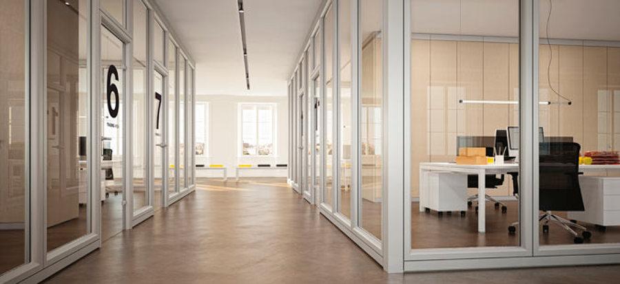 Partizioni interne, pareti divisorie in vetro