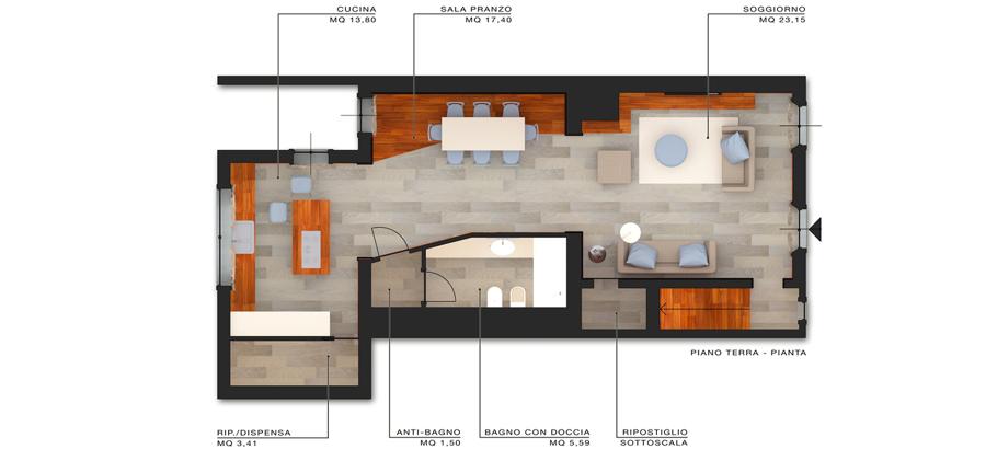 Progetto design d 39 interni per lussuoso appartamento a for Idee piano terra