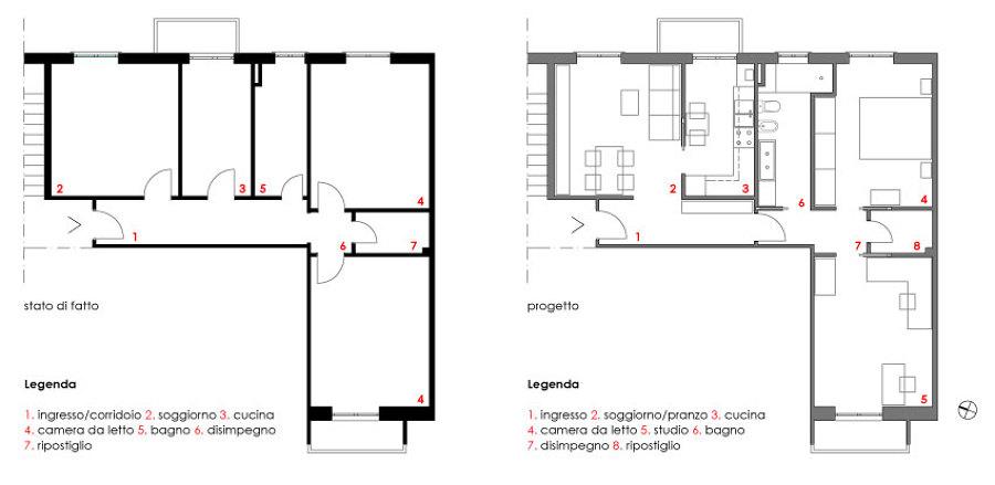 Foto piante confronto fra stato di fatto e progetto di for Progettazione di architettura online