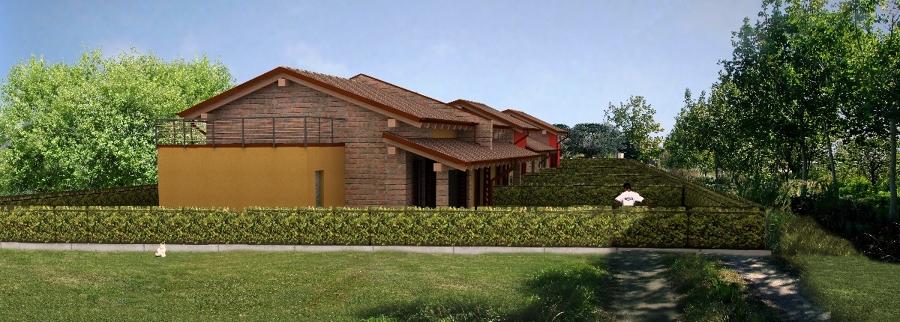 Progettazione e realizzazione di quattro unità residenziali in linea su terreno pianeggiante.