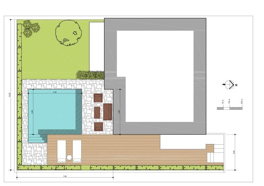 Progetto giardino con piscina idee costruzione piscine for Piani di idee di progettazione seminterrato