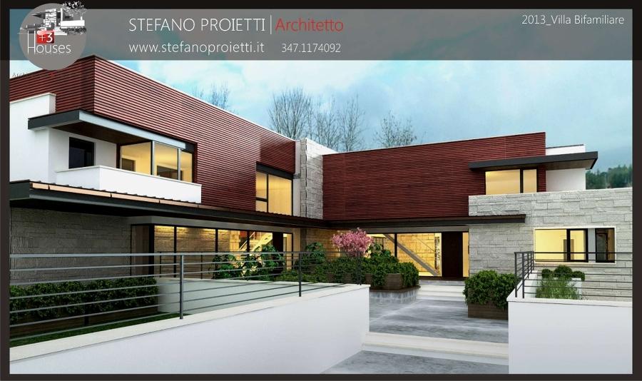 Foto progettazione per una villa bifamiliare in fase di for Ville bifamiliari moderne