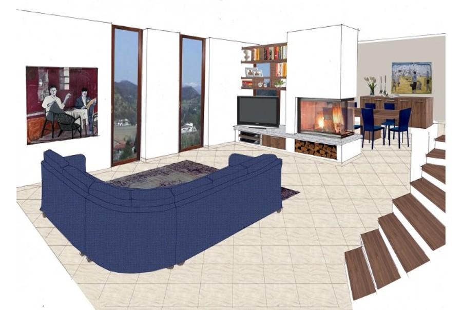 progettazione salotto villetta a schiera