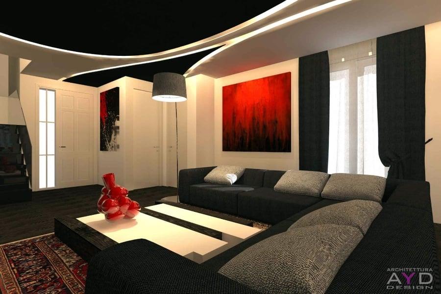 Progetto design soggiorno minimal idee ristrutturazione casa for Arredo interni idee