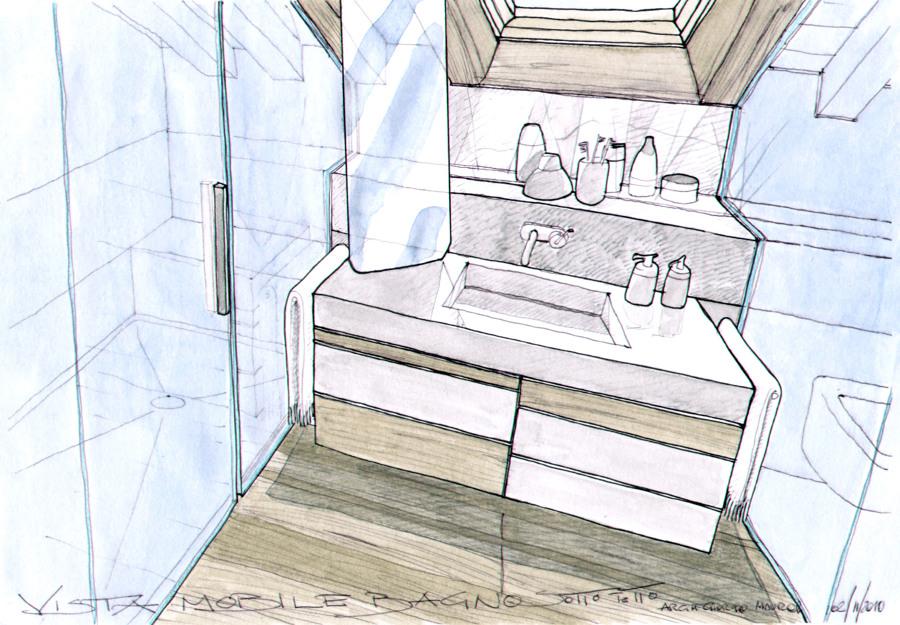 Progetto bagno sotto tetto dettaglio mobile.